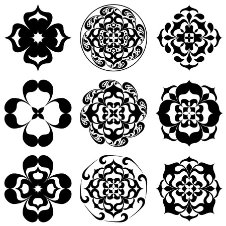 Set of kaleidoscopic floral tattoo. Mandala in black and white