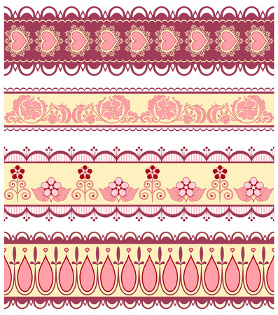 Set of ribbons with hearts and flowers in pink colour