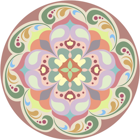 Kaleidoscopic round floral tattoo. Mandala in color
