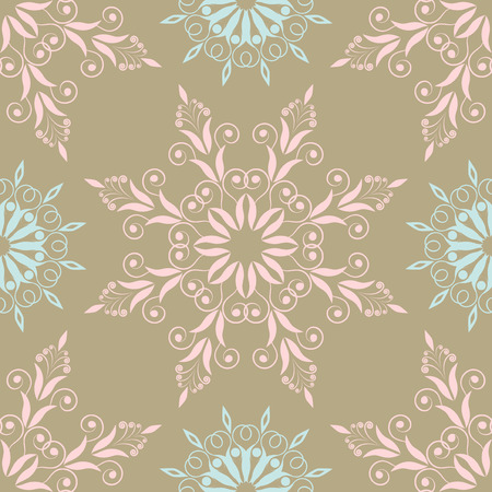 Beautiful floral pattern in vintage colours with blue and pink Illustration