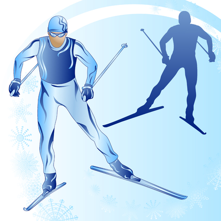 Stylized figure of a skier on a blue background with snowflakes