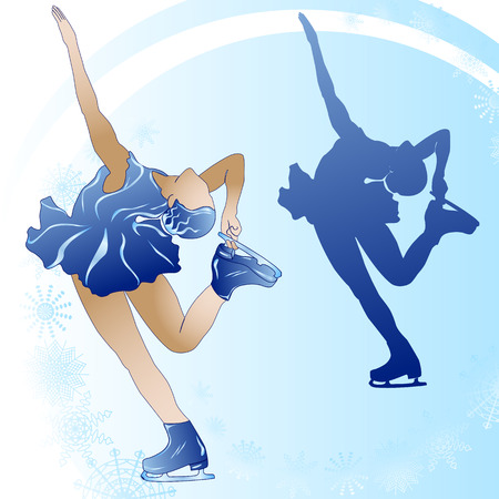 Woman figure skating on blue background.