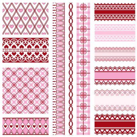 Set of beautiful ribbons, borders and backgrounds to valentines day Illustration