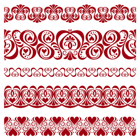 Set of beautiful pattern borders and ribbons for decorate on Valentines day Çizim