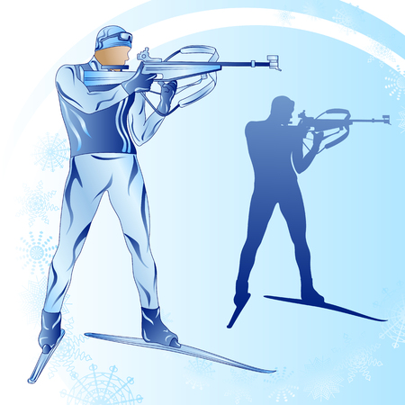 Stylized figure of a skier biathlonist on a blue background with snowflakes