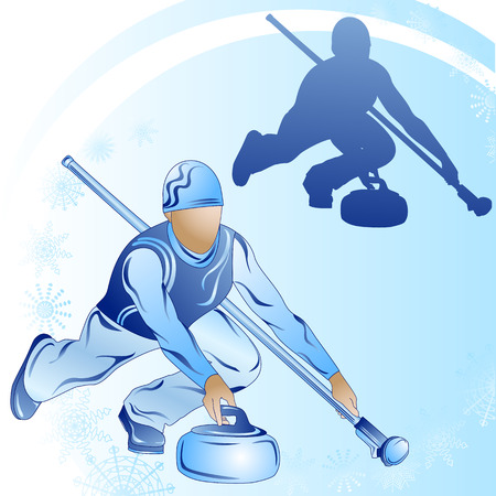 Stylized figure of a curler on a blue background with snowflakes