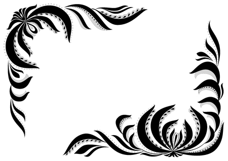 Graphic frame with flowers, leafs and dots.Black and white