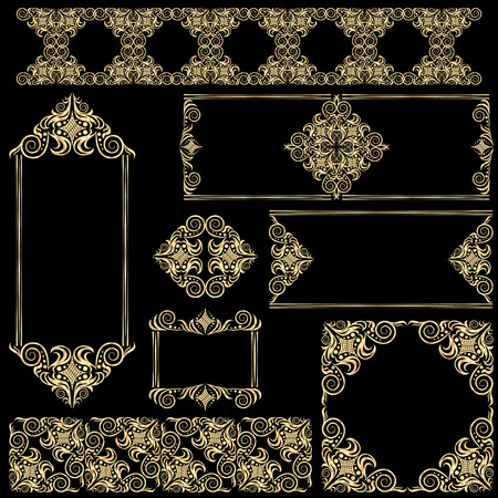 Arabic vector set of frames and lines gold and black design template. Muslim outline elements and emblems. Eastern floral frame. Logos line pattern for menu, restaurant, wedding invitation