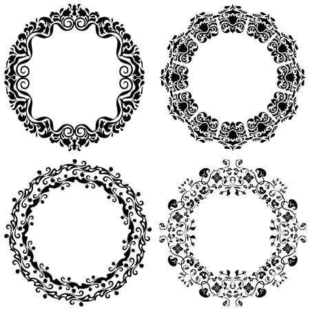 Set of four graphic round frames in black color on a white background