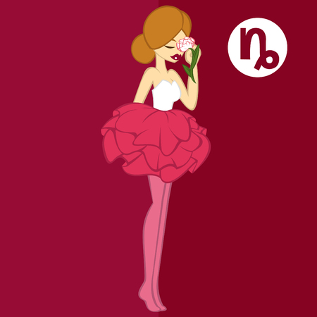 """capricornio: muchachas en estilo plano, en concepto Flor para el zodiaco """"Capricornio-Clavel"""" Vectores"""