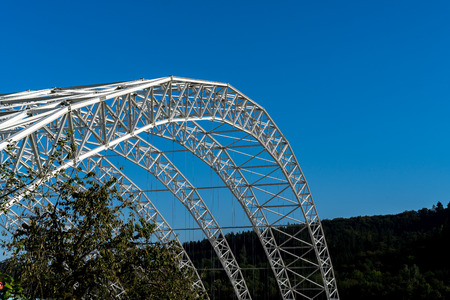 Arched steel structure of the ceiling of the special waste landfill in K?lliken Switzerland Detailed view side