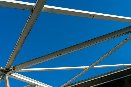 landfill: Arched steel structure of the ceiling of the special waste landfill in K?lliken Switzerland closeup of steel construction Stock Photo