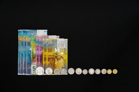 fidgety: Nine banknotes and coins arranged side by side on black background