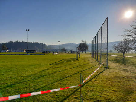 Seon, Aargau / Switzerland – April 7, 2020:  Football field was blocked by the Lenzburg regional police because of the Corona (COVID-19) pandemic and violations are fined. Éditoriale