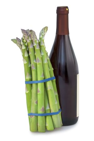bunched: Green asparagus and wine bottel on white background