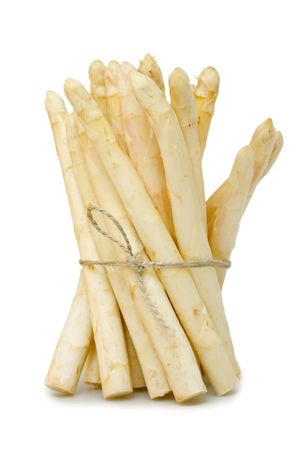 bunched: Fresh asparagus bunched on white background