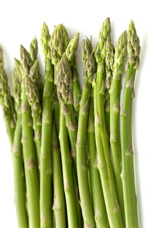 bunched: Green asparagus isolated on white background