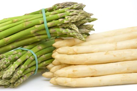 bunched: Fresh asparagus white and green bunched Stock Photo