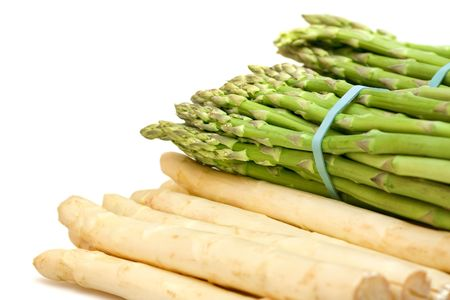 bunched: Bundled white and green asparagus