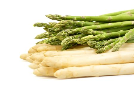 bunched: Fresh asparagus white and green isolated