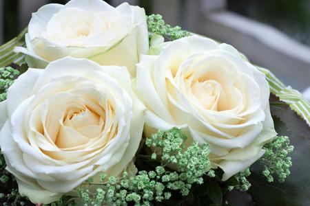 luxus: Romantic wedding bouquet of white roses