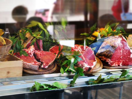 rumpsteak: Fresh Beef cutlets decorated appetizing in a shop window Stock Photo