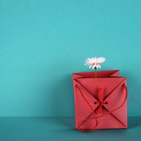 isoliert: Gift bag in red, with a white flower