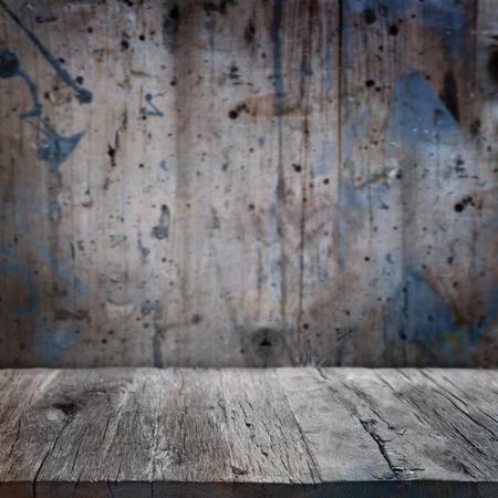 leer: Old grunge interior, wooden background