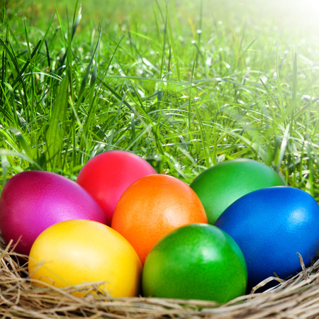 Easter basket with colorful Easter eggs on a meadow