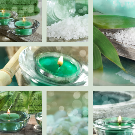 spa objects: Collage of spa objects in turquoise Stock Photo