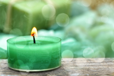flamme: Close Up of natural herbal soap with candlelight