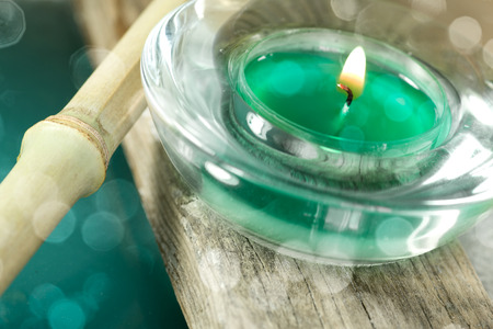 Relaxation and wellness objects including aromatic candles Stock Photo