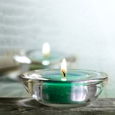 flamme: Aromatic candles and other spa objects Stock Photo