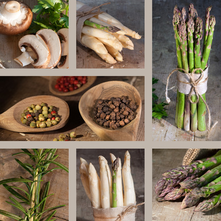 rosmarin: Collage of healthy vegetarian food