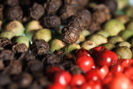 rt: Colorful peppercorns background with a short depth of field