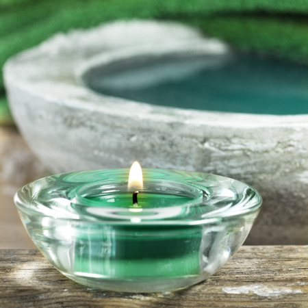 spa objects: Aromatic candles and other spa objects Stock Photo