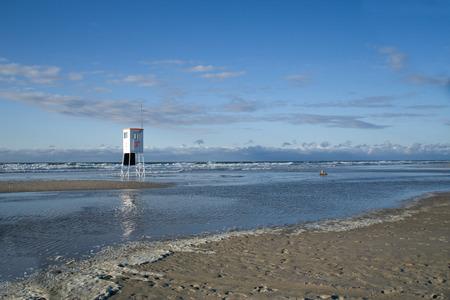 lifeguard tower: Lifeguard Tower on empty beach, island Juist, Germany.