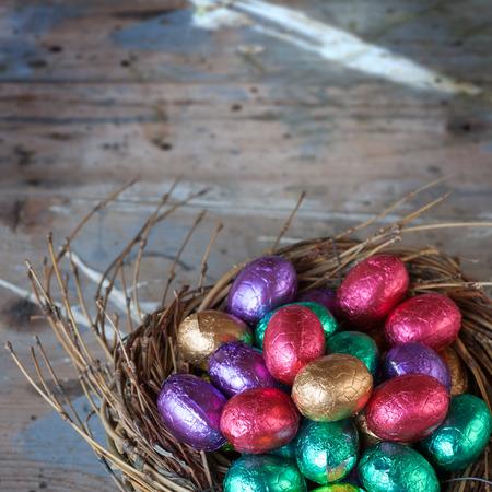 aluminium: Chocolate easter eggs wrapped in coloured aluminium foil Stock Photo