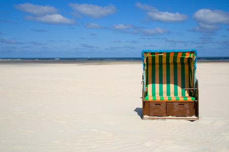 german north sea region: Beach chair on the beach Stock Photo