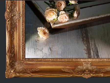 baroque picture frame: Gold picture frame with still life Stock Photo