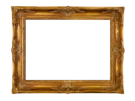 plated: Gold picture frame, isolated on white background Stock Photo