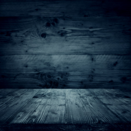 Dark blue interior with a wooden floor in vintage style Stock Photo