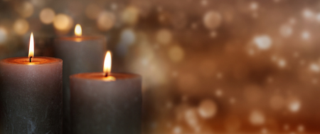 Sparkling background with burning candles Stock Photo