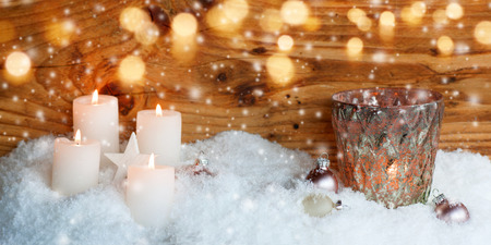 christmas motif: Christmas motif with candles and snowfall for a greeting card