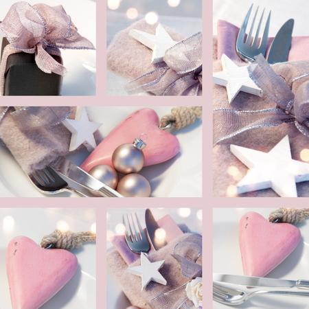 colores pastel: Collage de la decoración de mesa en colores pastel con estrellas y un corazón para la Navidad y Año Nuevo Foto de archivo