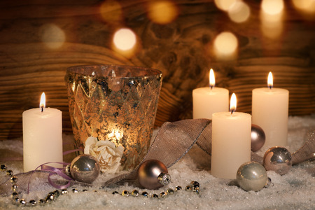 reverent: Christmas decoration with candles for celebratory moments