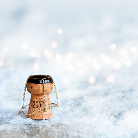 New Year motif 2017 with a champagne cork in a snow landscape Stock Photo