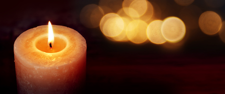 Burning candle for silence moments