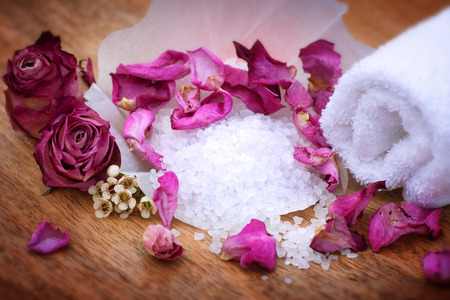Spa still life with bath salt and dried rose for relaxing moments Stock Photo