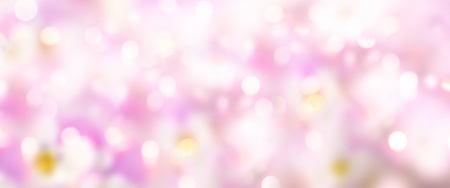 Panorama background in pink pastel colors with bokeh for spring and easter